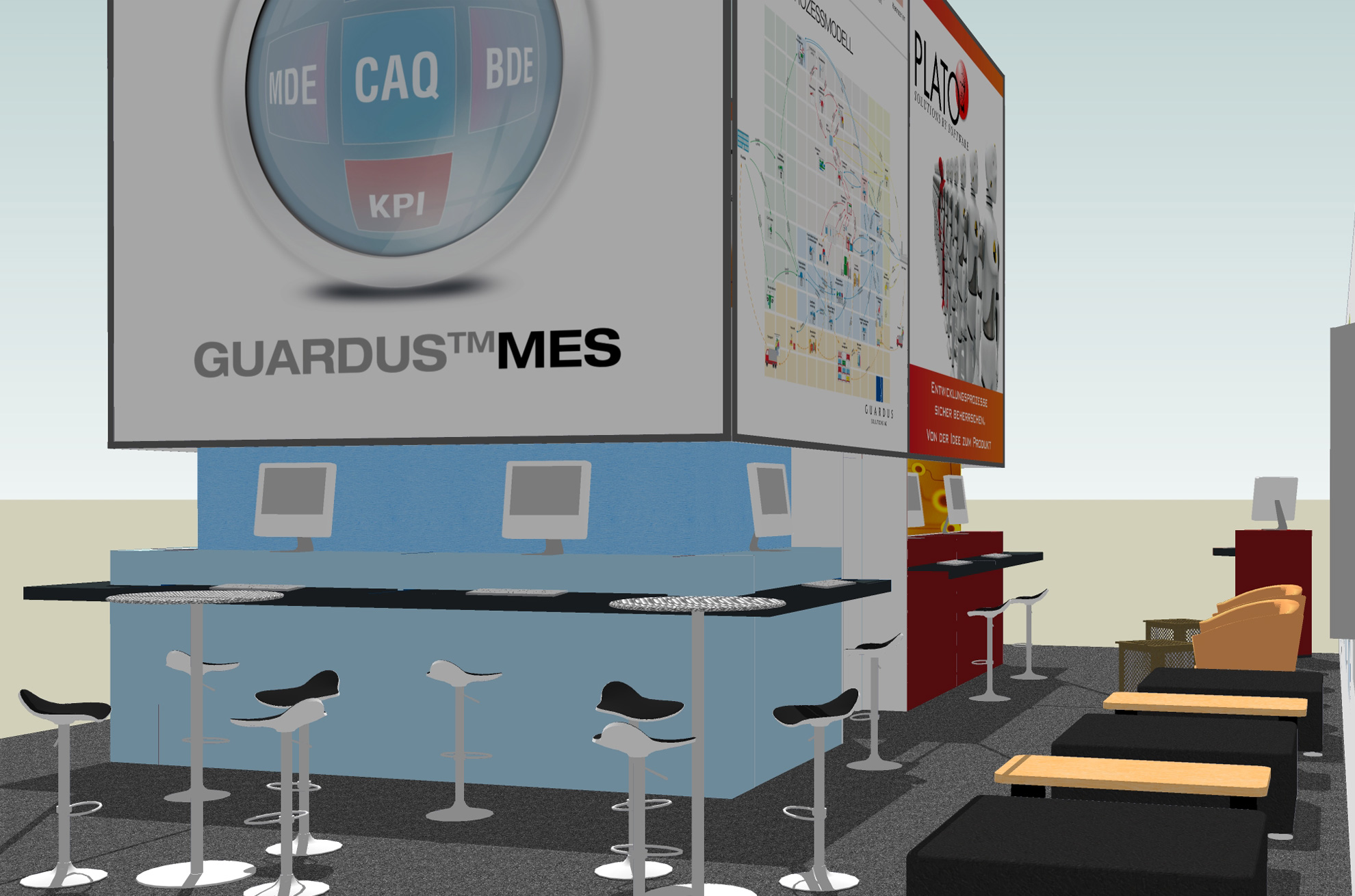Guardus Solutions trade fair stand - partial view of the 3D layout
