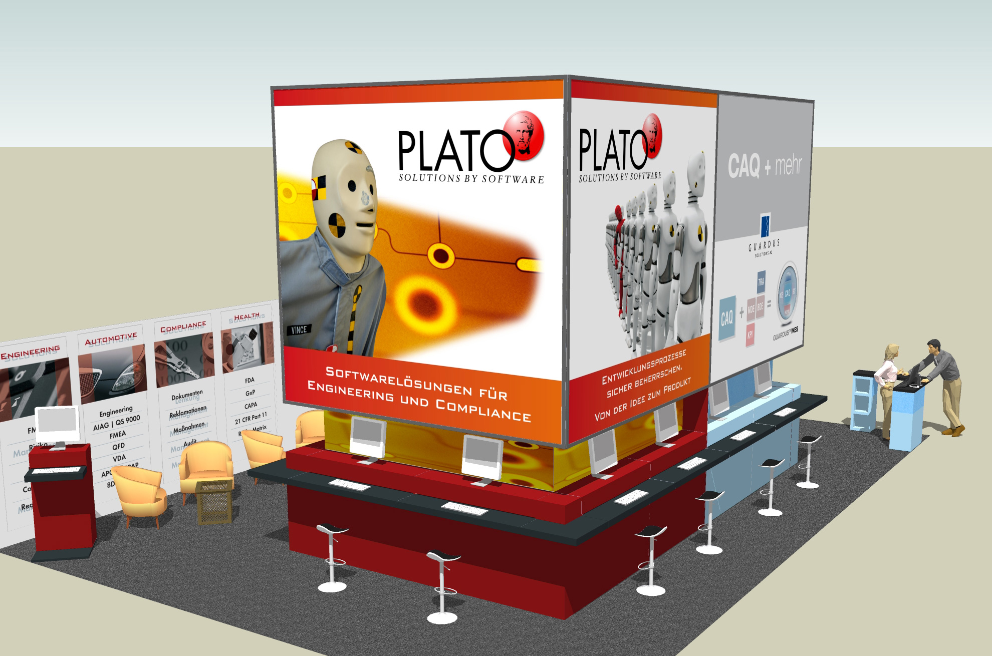 Guardus Solutions AG and Plato AG trade fair stand - view Plato
